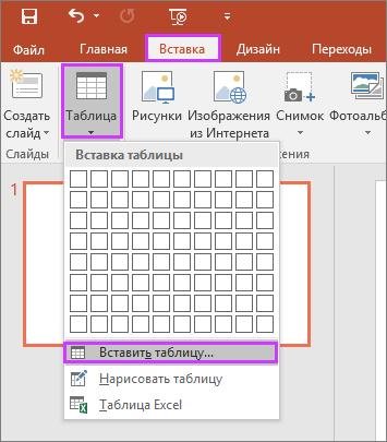 """Кнопка """"Таблица"""" на вкладке """"Вставка"""" ленты PowerPoint"""