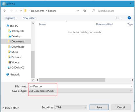 Сохранение CSV-файла на рабочем столе LastPass