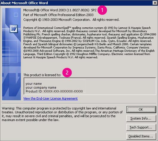 "Окно ""О программе"" в Microsoft Office Word 2003"
