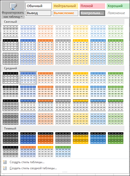 Коллекция стилей таблиц Excel