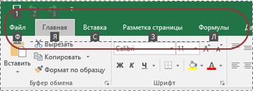 Индикаторы подсказок клавиш на ленте