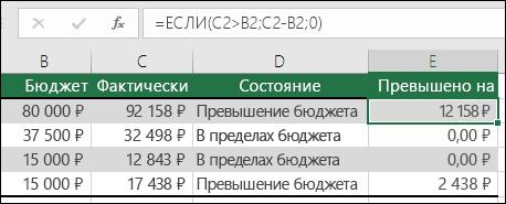 """Ячейка E2 содержит формулу =ЕСЛИ(C2>B2;C2-B2;"""""""")"""