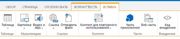 """Снимок экрана вкладки """"Вставка"""", содержащей кнопки для вставки таблиц, видео, изображений и ссылок на страницы сайта"""