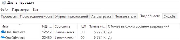 Снимок экрана: OneDrive. exe на экране диспетчера задач