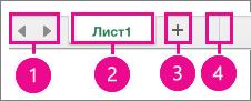 Левый нижний угол страницы с показанными элементами управления листом