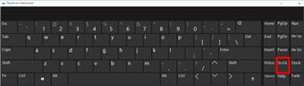 Экранная клавиатура Windows 10 с клавишей SCROLL LOCK