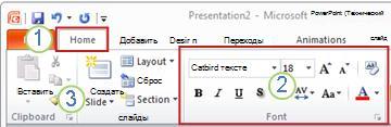 Пример ленты PowerPoint. Элементы.
