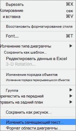 """Контекстное меню для диаграмм с выбранным параметром """"заМещающий текст""""."""