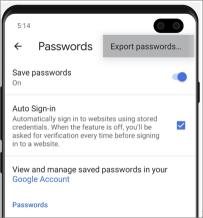 Расположение для экспорта паролей в Chrome для Android