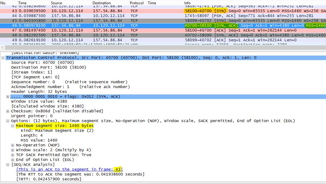 Трассировка с примененным фильтром в Wireshark по tcp.options.mss для максимального размера сегмента (MSS).