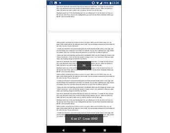 Документ Word с меткой подбора размера в центре экрана и количество страниц внизу экрана