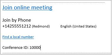 Outlook Web App: приглашение на собрание со сведениями о присоединении к собранию по сети