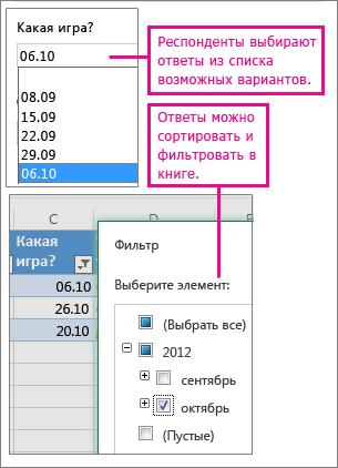 Выбор ответов из списка упрощает сортировку и фильтрацию