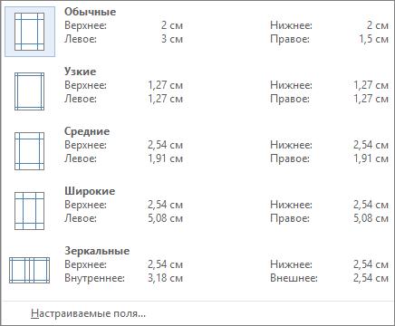 """На вкладке """"Макет"""" отображаются параметры полей."""