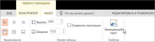 "Снимок экрана: вкладка ""Макет"" в разделе ""Работа с таблицами"" с указателем, наведенным на пункт ""Замещающий текст""."