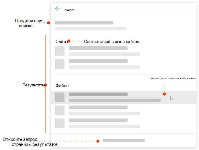 Снимок экрана: современное поле поиска с указателями на элементы для исследования