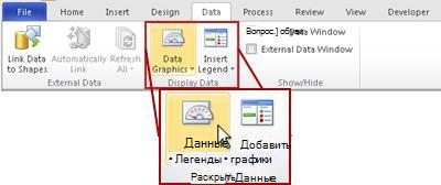 Группа «Отображение данных» на вкладке «Данные» ленты Visio 2010.