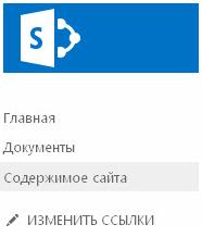 """Кнопка """"Контент сайта"""" на панели быстрого запуска"""