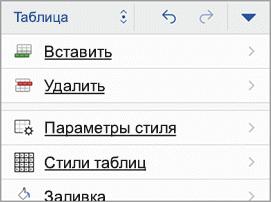"Вкладка ""Таблица"" на iPhone"