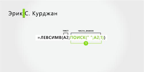 Формула для разделения имени и фамилии, а также инициал среднего имени