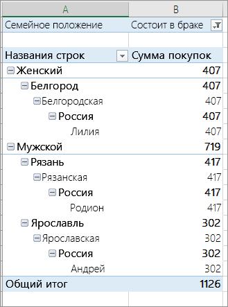 Элементы, отфильтрованные на основе значения в фильтре отчета