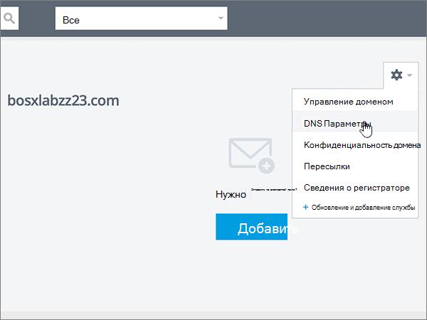 Выберите в списке пункт DNS Settings (Параметры DNS)