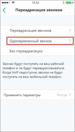 Skype для бизнеса для iOS– экран одновременного звонка