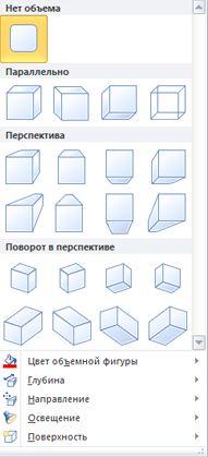 Параметры эффектов объема WordArt в Publisher 2010
