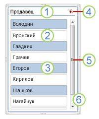 Элементы среза сводной таблицы