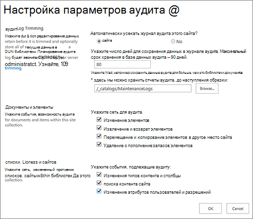 Экран параметров аудита семейства сайтов