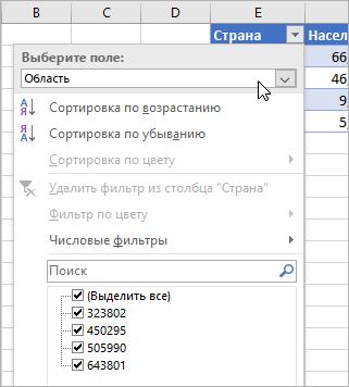 """Меню """"Фильтр"""", меню """"Отображаемое значение"""", перечислены поля из связанного типа данных"""