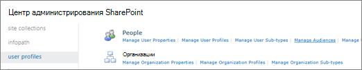 Управление аудиториями ссылки на странице профилей пользователей