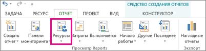 Кнопка ''Ресурсы'' на вкладке ''Отчет''