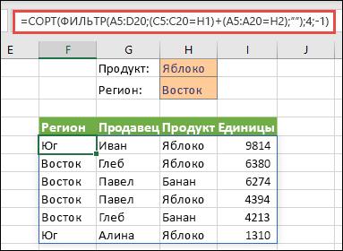 Совместное использование ФИЛЬТР и СОРТ: фильтрация по продукту (яблоко) или по региону (Восток)
