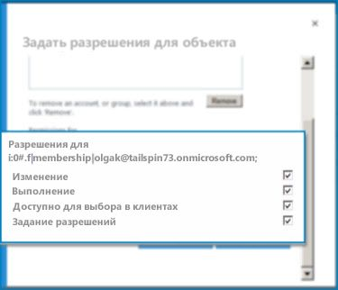 """Снимок экрана диалогового окна """"Задать разрешения для объекта"""" в SharePoint Online. Используйте это диалоговое окно, чтобы задать разрешения для указанного внешнего типа контента."""