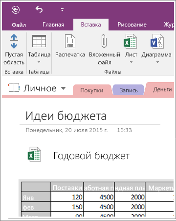 Снимок экрана с внедренным листом в OneNote2016