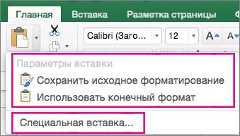 """Меню """"Вставка"""", показаны параметры и элемент """"Специальная вставка"""""""