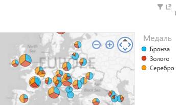 Применение цвета к визуализации карты Power View