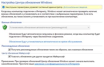 Параметры Центра обновления Windows в панели управления Windows 8