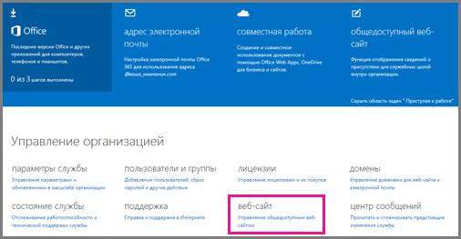 """Страница """"Администратор"""", отображающая раздел """"Управление параметрами общедоступного веб-сайта""""."""