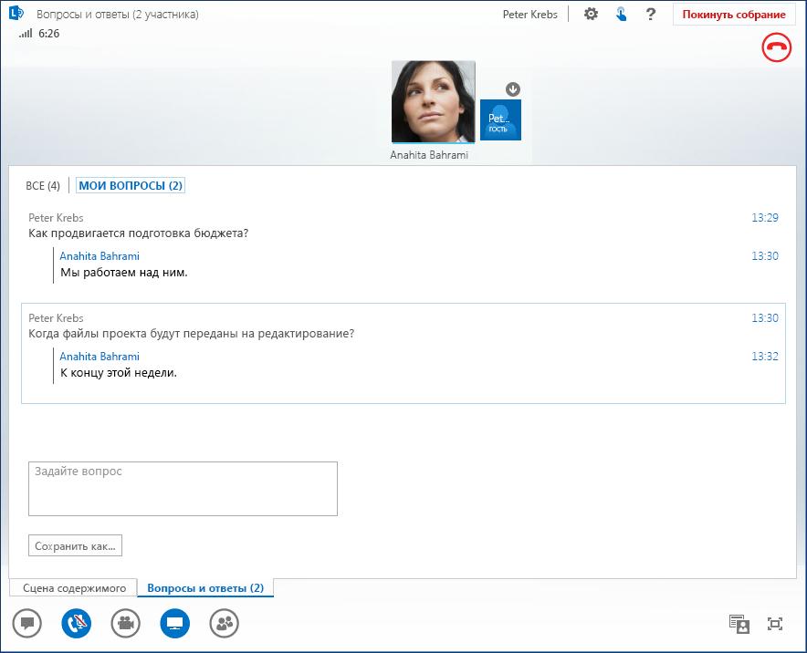 Снимок экрана, на котором показан сеанс вопросов и ответов