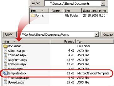 Содержимое папки ''Формы'' в библиотеке документов