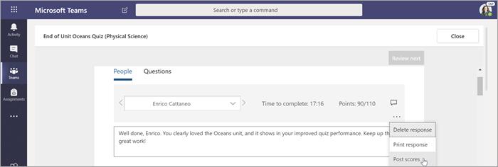 Выберите Опубликовать оценки, чтобы отправить оценки и вернуть оценку работы.