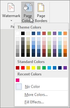 "Пункты меню ""Цвет страницы"""