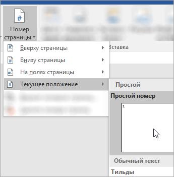 Снимок экрана: выбор номера страницы в формате обычного формата в текущей позиции документа