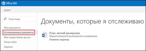 Снимок экрана с документами OneDrive для бизнеса, которые вы отслеживаете в Office365.