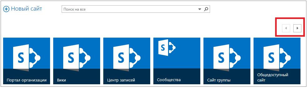 """Пример страницы """"Сайты"""" с более чем шестью сайтами и полосой прокрутки"""