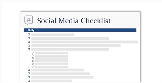 концептуальное изображение контрольного списка социальных сетей