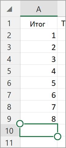 Автосумма в Excel на планшете с Windows