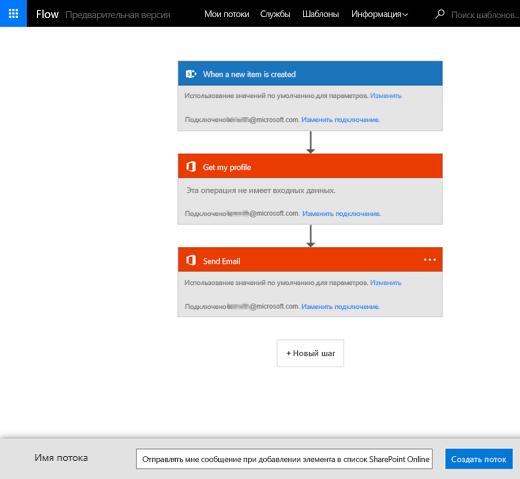 Следуя инструкциям на сайте MS Flow, подключите поток к своему списку SharePoint.
